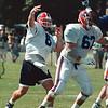 7/11/97- bills camp 3--Takaaki Iwabu photo-- Billy Joe Hobert is serious contender for Bills No 1 QB spot. <br /> <br /> sports, Sunday, BW