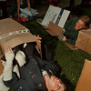 98/05/01-- sleeping out --Takaaki Iwabu photo-- Ben Olney, freshman at Niagara University, lies down on the ground with other students who participated in Homeless Sleep-out program. NU's Community Action Program encouraged students sleep outside Friday to raise  public awareness of homeless issue and donation for local homeless shelter.   local, bw, saturday