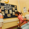 2/3/97--BLACK HISTORY/GASKILL--DAN CAPPELLAZZO PHOTO--GASKILL 6TH GRADERS; COLLENN TRAVERSE AND FELLOW STUDENTS (LTOR) TOM GLESON, ADRIANE WALLACE AND DERRICK PRESSLEY SPEAK ABOUT GREAT AFRO-AMERICANS IN AMERICAN HISTORY IN MRS MAUREEN MESSER'S SOCIAL STUDY CLASS.<br /> <br /> LOCAL