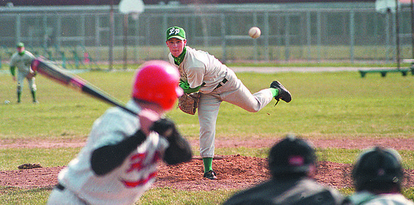 4/21/97--lewport baseball 2--DAN CAPPELLAZZO PHOTO--LEWPORT PITCHER PAT GRAY HURLS THE ROCK TO NW BATTER TOM TRUNZO IN THE SECOND INNING. GRAY PITCHED A STRONG GAME AND SCORED THE WINNING RUN AT LEWPORT HIGH.<br /> <br /> SP