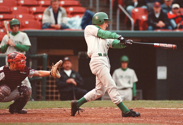 5/29/97 -- baseball 2 -Takaaki Iwabu photo-- Lew-Port Pat Gray hits a triple for a tie (1-1) game at the bottom of first inning.