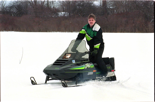 1/30/97 Snow Mobile - James Neiss Photo - Jeff Herman of Baerd Rd. enjoys show mobiling.