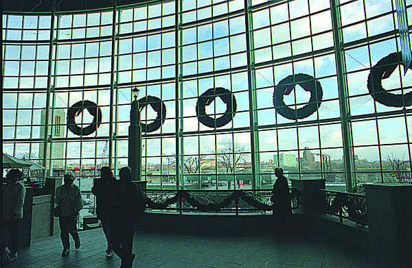 1/6/97--CASINO--CAPPY PHOTO--THE VIEW LOOKING OUT ON FALLS STREET, FROM CASINO NIAGARA, WITH THE NIAGARA FALLS, NY SKYLINE IN THE BACKGROUNG.