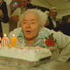 "98/02/21-- granny --Takaaki Iwabu photo-- Luigina Silvestrone, 103, blows out the candles on the birthday cake as the band plays ""Happy Birthday"" at Northgate Manor Nursing Home in North Tonawanda Saturday. <br /> <br /> local, Sunday"