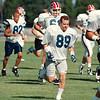 97/08/27 Bills, Tasker --Takaaki Iwabu photo-- Buffalo Bills Steve Tasker gets loosen up during the trining camp. <br /> <br /> Sports, Thursday, color