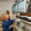 97/09/26 Lasalle Servalenece2 - James Neiss Photo - LaSalle Principal Judy Warren and Ast. Principal Manning Fogan watch activities on the new school wide video monitoring station.