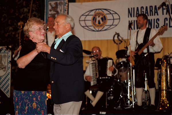"98/10/03 Oktoberfest-rachel naber Photo-Irene Piszczek and her husband dance  to the ""Frankfurters"" at the annual Oktoberfest sponsored by the Kiwanis Club at the American Legion in Niagara Falls."