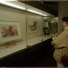 97/01/09 Library Art - James Neiss Photo - Paula Clifton of Lewiston, a NU Student, checks out the art work of Bonnie Nafus, of NF, on display at the Niagara Falls Library.