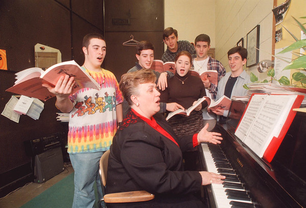 "2/14/97 My Favorite Year - James Neiss Photo - Niagara Wheatfield High School - some cast members of ""My Favorite Year practice for play. From L-R are: Tom Parker 11/16, Muriel Eley, Musical Director, Jeff Lange 12/17, Justin Siuta 11/16, Kristen Rawluszki 11/17, Jim Proefrock 1`2/18 and Chris Fagiani 11/17."