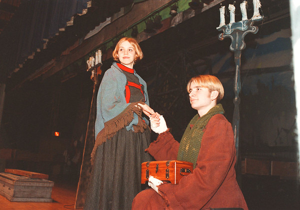 "2/25/97-- oliver --Takaaki Iwabu photo-- Rebecca Pazik and  Emmett Whitaker play key roles at ""Oliver"" by Starpoint High School's Drama Club. ...Info attached<br /> <br /> grapevine photo"