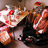2/10/97--CAPTON/POLICE BRUTALITY--DAN CAPPELLAZZO PHOTO--BARBARA CAPTON SITS IN HER NF HOME AT HER CRAFT TABLE. CAPTON WAS AWARDED 1.1 MILLION BT THE COURTS ON A POLICE BRUTALITY CHARGE.<br /> <br /> 1A