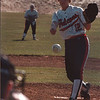 4/15/97-- NW softball 2--tak photo--  Niagara Wheatfield HS Janelle Mahl piches Tuesday's game agaisnt Kenmore West.