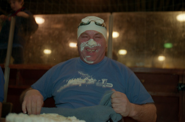 """98/02/06 Winterfest 1 *Dennis Stierer photo - Tony """"The Human Vacuum"""" Nemi after the pie eating contest. His pie was a Bannana Cream. The pie eating contest was the most popular event of the day."""