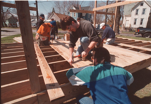 4/14/97 Gluck Park Gazebo - James Neiss Photo - Orleans Niagara BOCES Adult Building Trades Program Students build a Gazebo in Gluck Park. Here from L-R (left side) are Sam Difelice of Sanborn, Danny Scott of NF, Marty Elmore of NF and Bob Robazza of NF.
