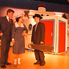 2/24/97--NF HIGH PLAY--DAN CAPPELLAZZO PHOTO--(LTOR)MATT KOFAHL, AS BILLY CRICKER, KATIE WARD, AS RENO SWEENEY AND JOE SIRIANNI, AS MOONFACE MARTIN REHEARSE THEIR LINES ON SET AT THE NF HIGH THEATER.<br /> <br /> FRI  FEAT