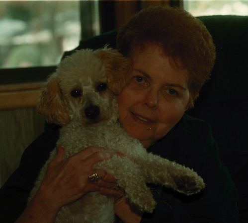 98/10/05 Hughes & Chance - James Neiss Photo - Dian Hughes and her new companion Chance the dog.