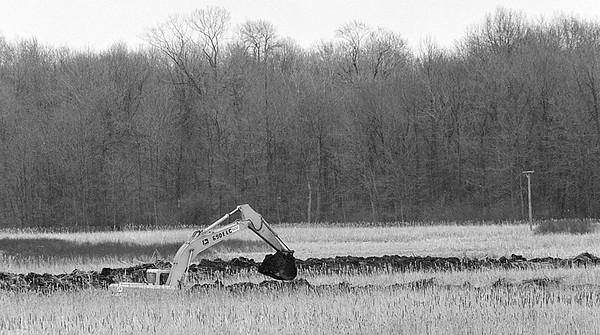 3/19/97--GRAND ISALND BOGG--DAN CAPPELLAZZO PHOTO-- A BACKHOE DIGGS INTO THE GRAND ISLAND SWAMP NEAR THE NORTH GRAND ISLAND BRIDGE.<br /> ***EDS NOTE' TO GO WITH GLYNN COLUM**