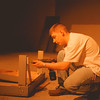 98/01/28-- theater --Katie Kamphuis photo-- Nick Petrishin, Niagara University student, works on taking down the sets from the recent show at the NU Theater on the Deveaux campus Wednesday. <br /> <br /> Grapevine photo