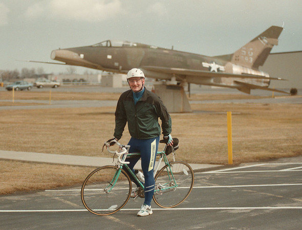 98/03/06 Bike Tour - James Neiss Photo - Master Sargent Wayne Theurer of the 107th air Refueling Wing will be participating in the GTE Big Ride for the American Lung Association.  He will be bicycling form Seattle Washington to Washington DC.