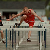 98/05/09-- HS track 2--Takaaki Iwabu photo-- Scott Cottrell of Starpoint High School clears a hurdle during the boys 110m hurdle competition during Saturday's Walter J. Hutchison Invitational Track & Field Meet in Wilson High School. <br /> <br /> color, Sunday sports