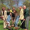98/04/24 Arbor Day-Rachel naber Photo-(Left to Right) Mary Murphy,Colleen Gaskill from Artstic Landscape Decor, Mallory Passuite/ 4th grade, Bob Gurley/ WNYS Landscape Assoc., Nicole Roussie/12 th grade,Ken Swan/ Mayor, John Hall plant a tree at the Kenan Center.