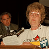 98/05/05- tabacco hearing --Takaaki Iwabu photo-- Jeannette Mattice, North Tonawanda, was the first in line posed questions to legislators on proposed smoking ban during Tuesday's public hearing.<br /> <br /> Wednesday, color, 1a