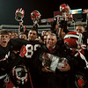 11/7/97-- Falcons 2--Takaaki Iwabu photo-- Niagara Wheatfield HS football team celebrate the victory on Friday's championship game at Rich Stadium. <br /> <br /> sports, color, Saturday