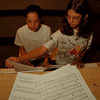 "98/07/27 Music Camp - James Neiss Photo - L-R - Katlyn Gosch 12/7th grade of Pendleton, NY  and  Rachel Stepien 12/7th of Youngstown, NY play a duet of ""Fantom of the Opera"" musing durring the Music School of Niagara's Summer Music Camp at Abate Elementary. The event was made possible  with public funds from the NYS Council on the Arts in Niagara County."
