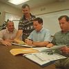 97/08/27 Wilson Schools - James Neiss Photo - Principals and Superintendent talk about upcoming school year. L-R are Michael Carr, Stevenson Elementary Principal, Daniel T. Connor Superintendent, Daniel Johnson High School Principal and Michael Wendt, Principal of Middle School.
