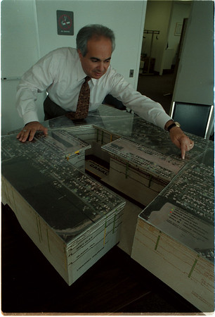 98/07/24 Love Canal CutAway - James Neiss Photo - EPA Public Affairs Specialist Michael J. Basile shows off a 1980 Love Canal Cut-Away map at EPA offices in Niagara Falls.