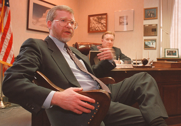 3/13/97--NF/CITY DEVELOPMENT--DAN CAPPELLAZZO PHOTO--BRIAN MEILLEUR,  PRINCIPLE PROJECT MANAGER, OF THE NF REDEVELOPMENT CORP. SPEAKS TO THE PRESS IN MAYIR GALIE'S OFFICE MONDAY AFTERNOON.<br /> <br /> <br /> NEWS/1A