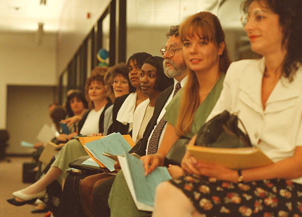 6/25/97--tele tech 2-- Takaaki Iwabu photo-- Job applicants are anxiously waiting for their turn to take a spell test at Tele-Tech Tuesday.