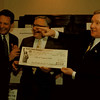 97/12/11 EPA-- Takaaki Iwabu photo-- From left, Richard L. Caspe, director at U.S. Environmental Protection Agency, Congressman John LaFalce and Niagara Falls Mayor James Galie share a laugh during the press conference at City Hall Thursday. LaFalce presented the City a check for EPA's national Brownfeidls Pilot Program.     -- local, bw, Friday