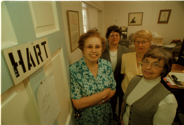 98/05/27 HART Program - James Neiss Photo - Lewiston HART Program. -  L-R - Lucy Rainville, vol, Laurie Brodie, coordinator, Marna Whitworth, chairman of Board and Dorothy Butler, Office manager.
