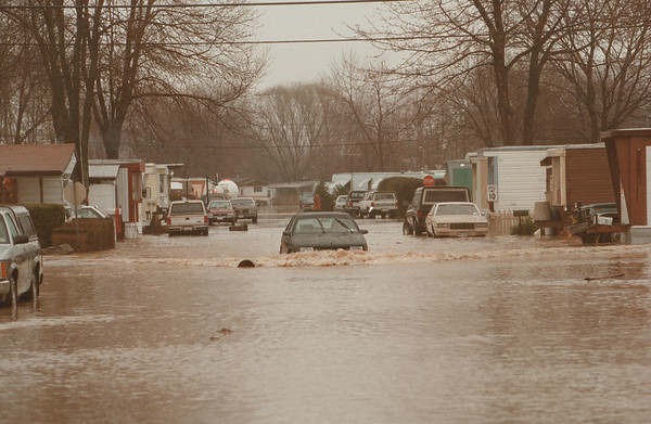 98/01/29--FLOODING--JAMES NIESS PHOTO--A LONE CAR TRIES TO DRIVE DOWN A FLOODED STREET DURING THE CAYUGA VILLAGE FLOODS EARLIER IN JAN.<br /> <br /> LOCAL