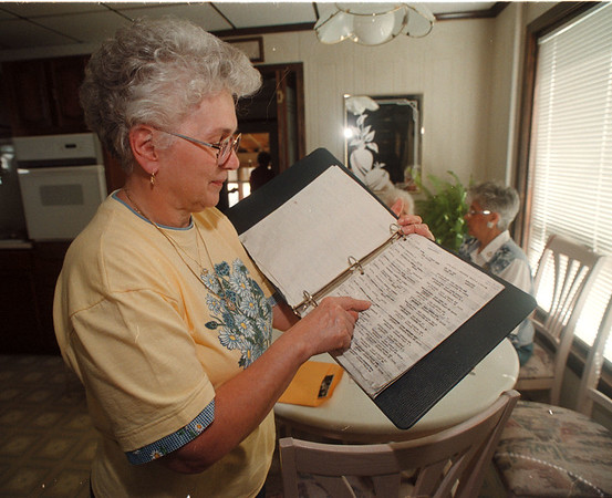 7/1/97 Jenss Reunion 2 - James Neiss Photo - Joan  Erias of NF looks over a list of former Jenss employees.