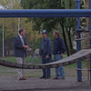 98/10/08 REDMAN/ALTO PK--DAN CAPPELLAZZO PHOTO--<br /> (LTOR)LKTP DIR OF DEPT OF YOUTH & RECREATION PAUL FOSTER TALKS WITH REDMAN CLUB MEMBERS AL KILLION AND DAVE FICARRA ABOUT HOW THE $3000 REDMAN DONATION WILL BUY A NEW PLAYGROUND GYM AT ALTO PK.<br /> <br /> LKP