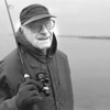 1/3/96--lure fishing --Takaaki Iwabu photo-- Joe Stackow enjoys lure fishing at Upper Rapid River Friday evening. The 79-year-old Niagara Ave. resident is in search of trout on a clear day. <br /> <br /> Grapevine photo