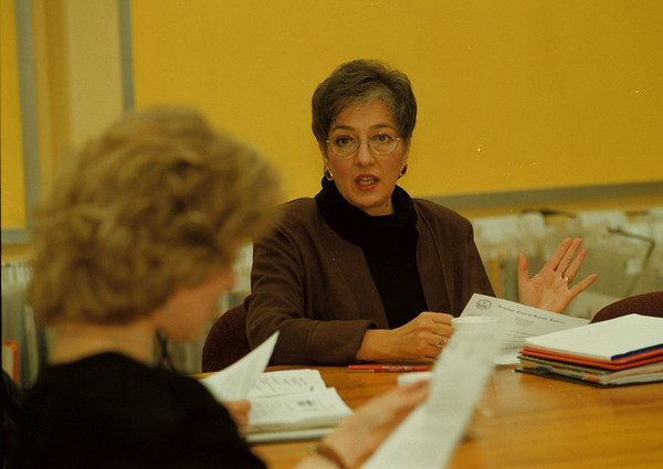 98/11/10 NICE Program 2 - James Neiss Photo - Christine Tibbetts, Director of Circulation & Instruction for Newfane Central School District moderates the NICE program meeting at the Early Childhood Development Center.
