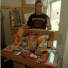 98/05/06 Firework Seasure - James Neiss Photo - Detective Paul Pierini shows off more than $5000.00 worth of seized fireworks.