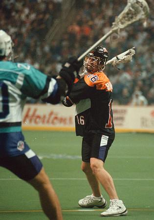 4/12/97-- The Bandits 3-- Tak photo-- Buffalo Bandits' Rich Kilgour aims a shot.......... he's a local guy.