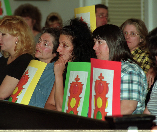 "98/05/19 Smoking Hearing - James Neiss Photo - L-R - Barbara Hammer, Marie Settimi and Brenda Bellina, all of Niagara Falls listen to members of the public as they speak their mind on the smoking issue. The three are holding ""Freedom of Choice"" signs and think smokers and establishments should have the say in the matter."