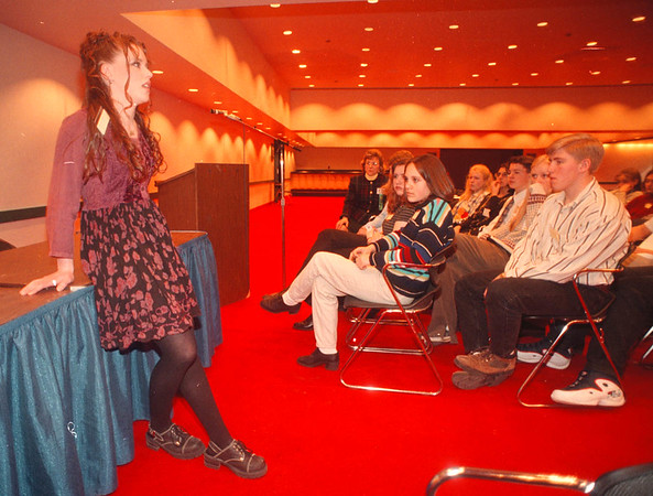 """2/15/97 Young Catholics - James Neiss Photo - Nicole Ripson 15yrs of Newfane talks about a volent experience in her life durring a """"Speak Out"""" session.<br /> Niagara Falls Convention Center"""