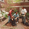5/29/97 Courtyard Cleanup - James Neiss Photo - NYNEX employees volunteer to clean up Niagara Street School Courtyard. L-R are: Mike Taylor, field Technician, Carl Hochworter, Installation Maintenance Manager and David Bondi, field Technician.