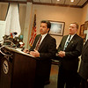 97/12/04--CITY HALL--DAN CAPPELLAZZO PHOTO--COUNCILMAN DENNIS VITUOSO SPEAKS TO THE PRESS AS MAYOR JAMES GALIE AND BFLO MAYOR TONY MASIELLO LOKK ON DURING A PRESS CONFERENCE ABOUT THE NEW CITY PLAN.<br /> <br /> 1A
