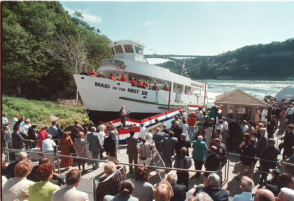 7/11/97 Maid Launch - James Neiss Photo - A good crowd turned out for the launching of the Maid of the Mist VII (Seven).<br /> <br /> James Glynn, President of the  Maid of the Mist Steamboat Company. LTD. says a few words.