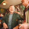 5/21/97-- laughter --Takaaki Iwabu photo-- Jimmy Driscoll shares a laugh with his friend Joe Chadima as they celebrate their friend's birthday at McDonough's, the Irish pub and restaurant on Buffalo Ave.<br /> <br /> grapevine photo