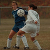 98/10/02 LewPort VS Ken West - Vino Wong Photo - #48 Emily Cook of Kenmore West goes head to head with #4 Rosie Luzak of Lewiston Porter during the first half at LewPort.