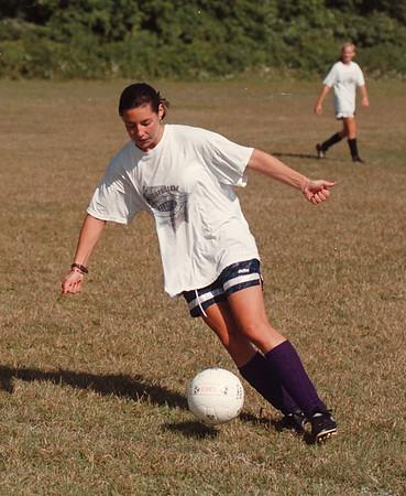 97/08/20 LaSalle Girls Soc 4 - James Neiss Photo - LaSalle's Tamara Burbee practices her ball handling.