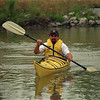 98/08/09 Scheer Kayak-RAchel Naber Photo-Mark Scheer learning to manuever in a kayak on the Erie canal in Medina.